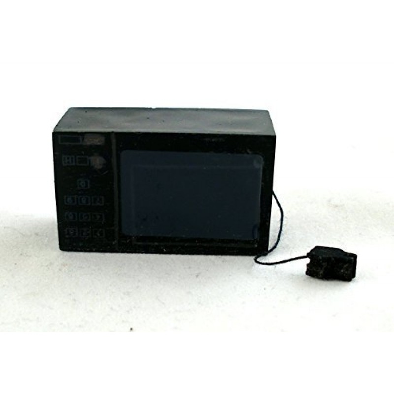 Dolls House Black Microwave with Cord Miniature Accessory Kitchen Appliance