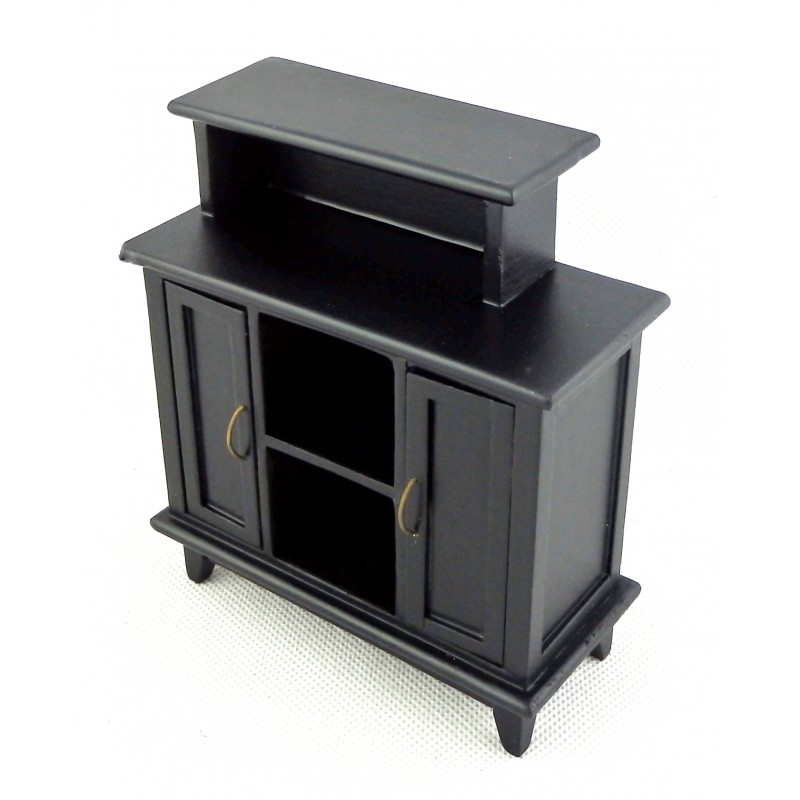 Dolls House Black Breakfast Bar High Cabinet Miniature Dining Room Furniture