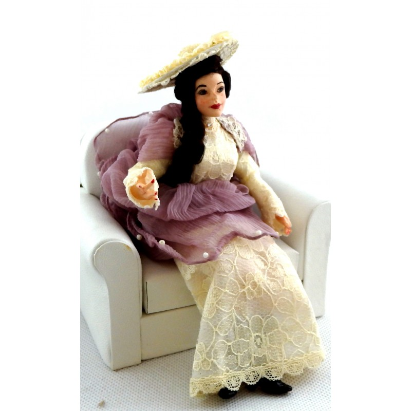 Dolls House Lady in Lilac Figure Joan Character Falcon Miniature People