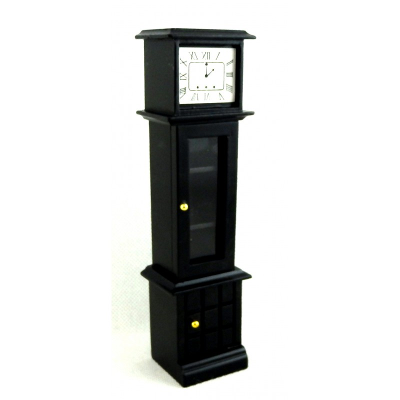 Dolls House Black Grandfather Curio Clock Miniature 1:12 Wooden Hall Furniture