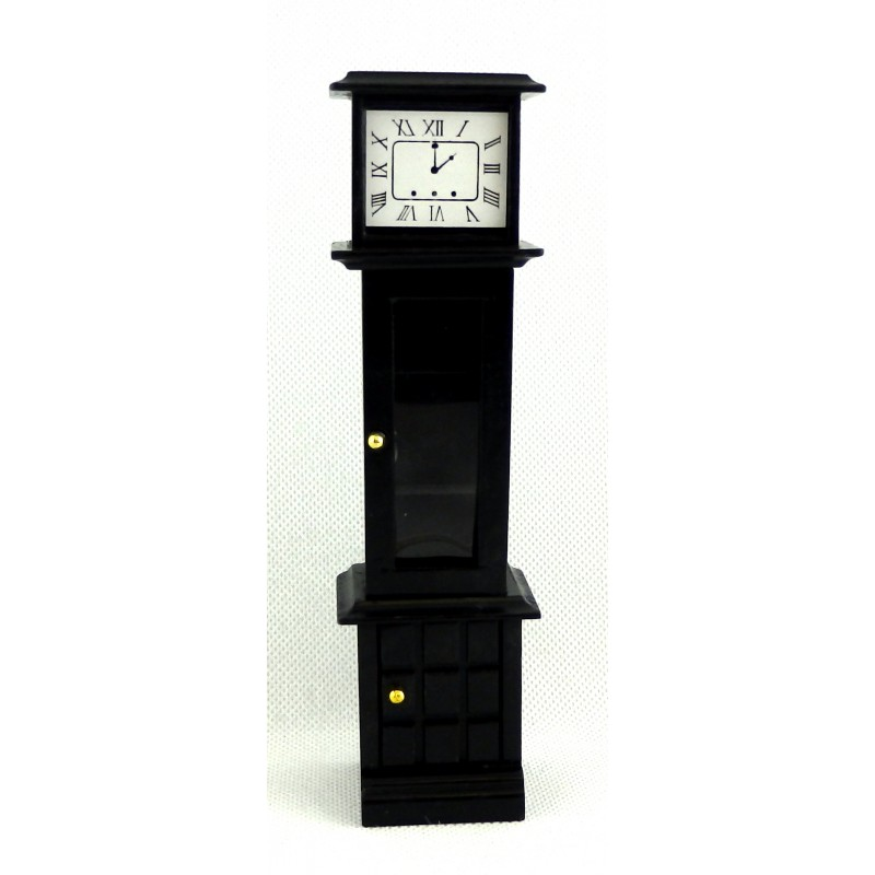 Dolls House Black Grandfather Curio Clock Mini Wooden Furniture