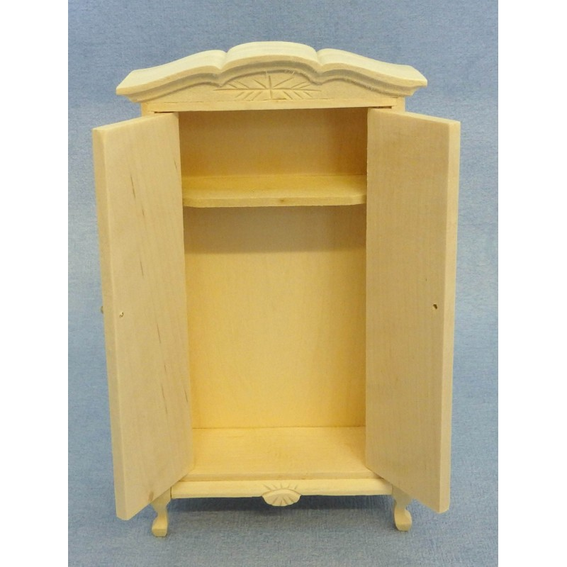 Dolls House Bare Wood Wardrobe Miniature 1:12 Unfinished Bedroom Furniture