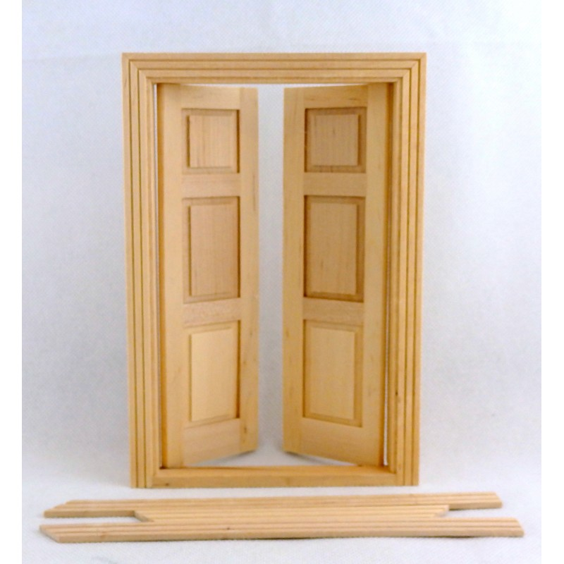 Dolls House Double Panel Doors Miniature Interior 1:12 Scale Wooden Traditional