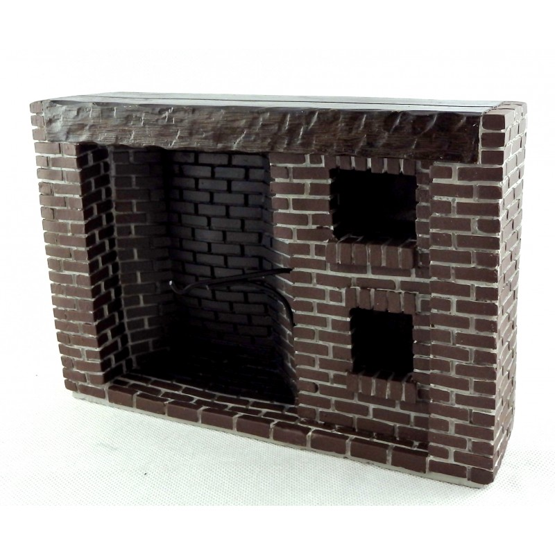Melody Jane Dolls House Old Fashioned Brick Fireplace Colonial Walk-In Resin