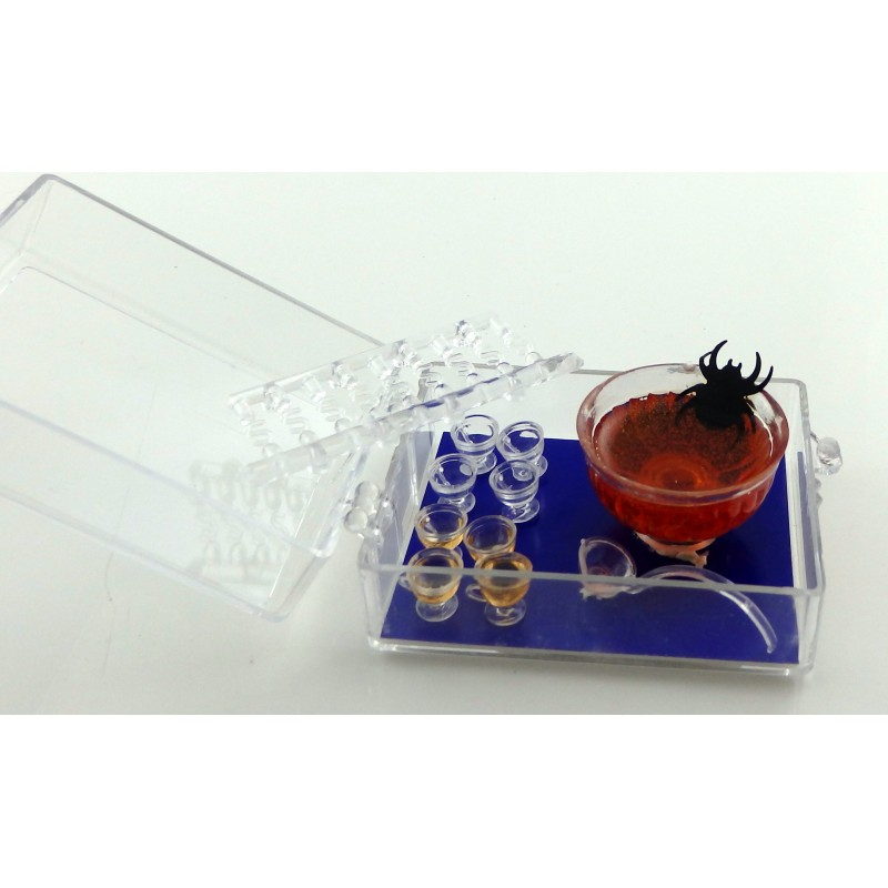 Dolls House Halloween Punch Bowl Mugs & Ladle Miniature Dining Table Accessory