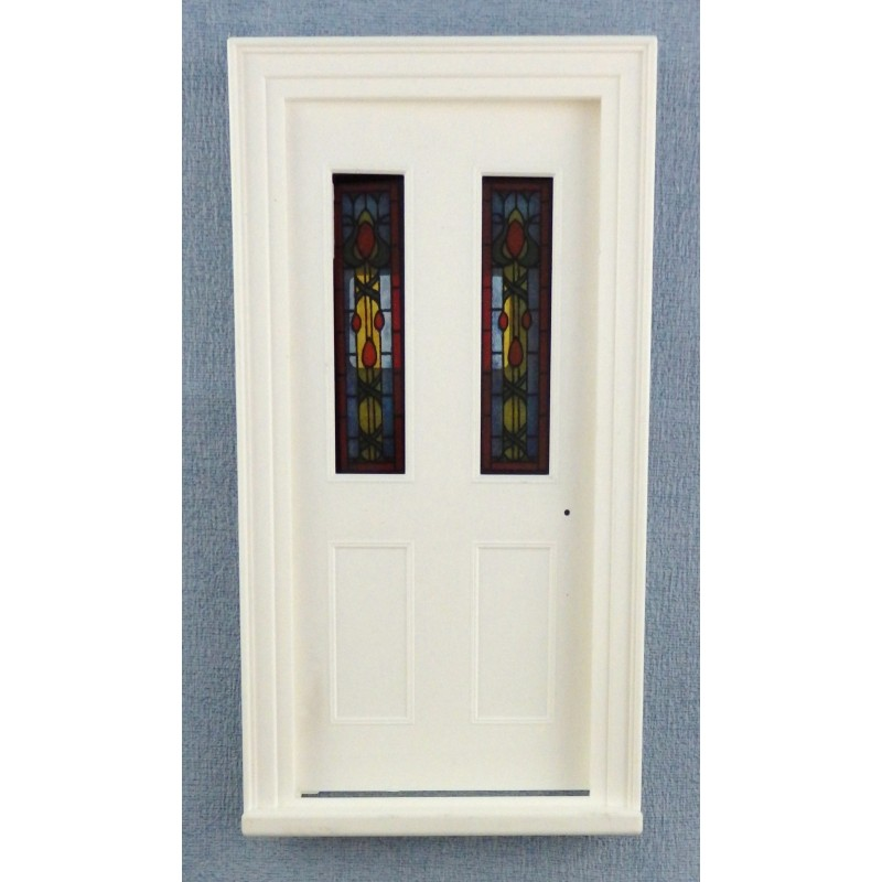 Dolls House White Plastic Victorian Front Door with Stained Glass Panels 1:12