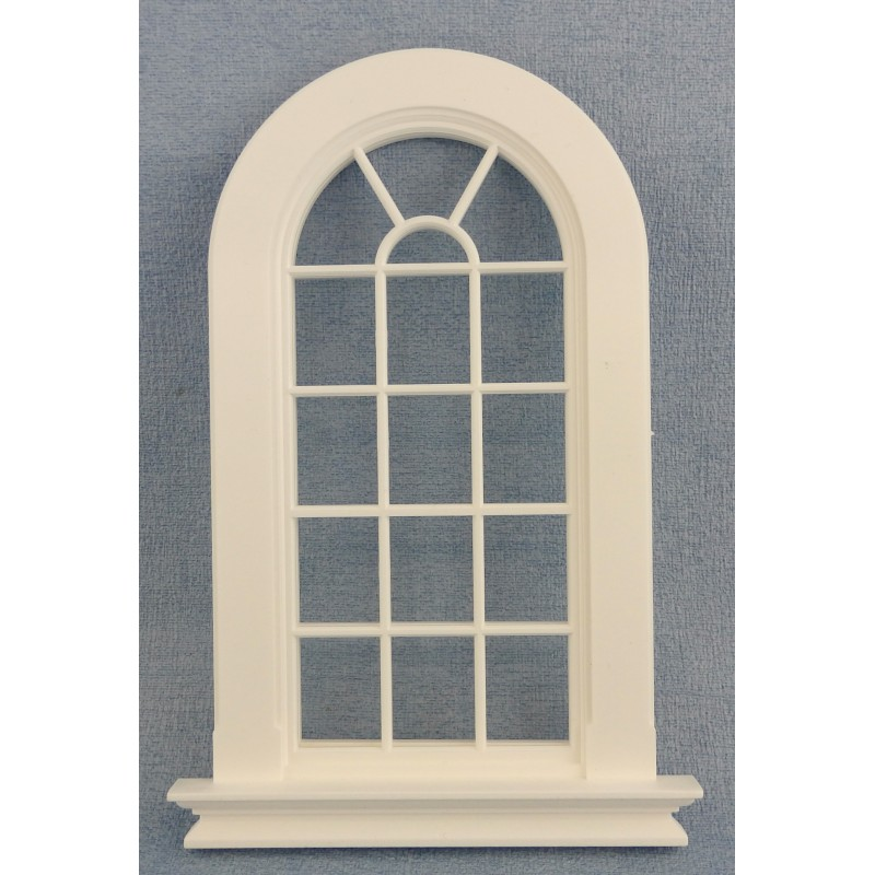 Dolls House White Plastic Georgian Tall Arched Window 16 Pane 1:12 DIY Builders