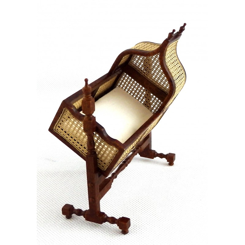 Dolls House Jacobean Cane Walnut Rocking Cradle Fine Miniature Nursery Furniture