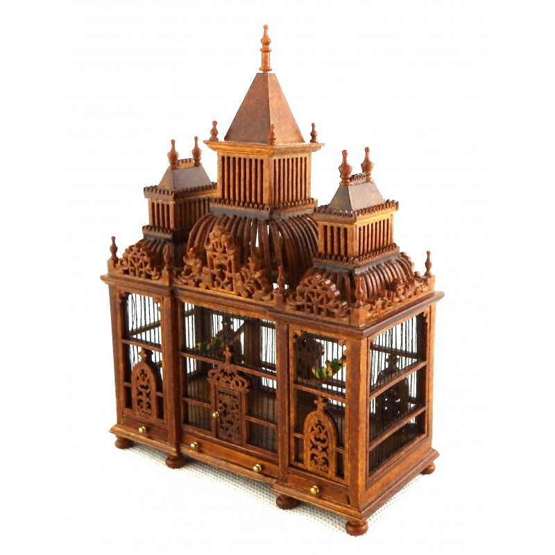 Dolls House Ornate 3 Turret Walnut Wood Victorian Bird Cage with Birds Miniature