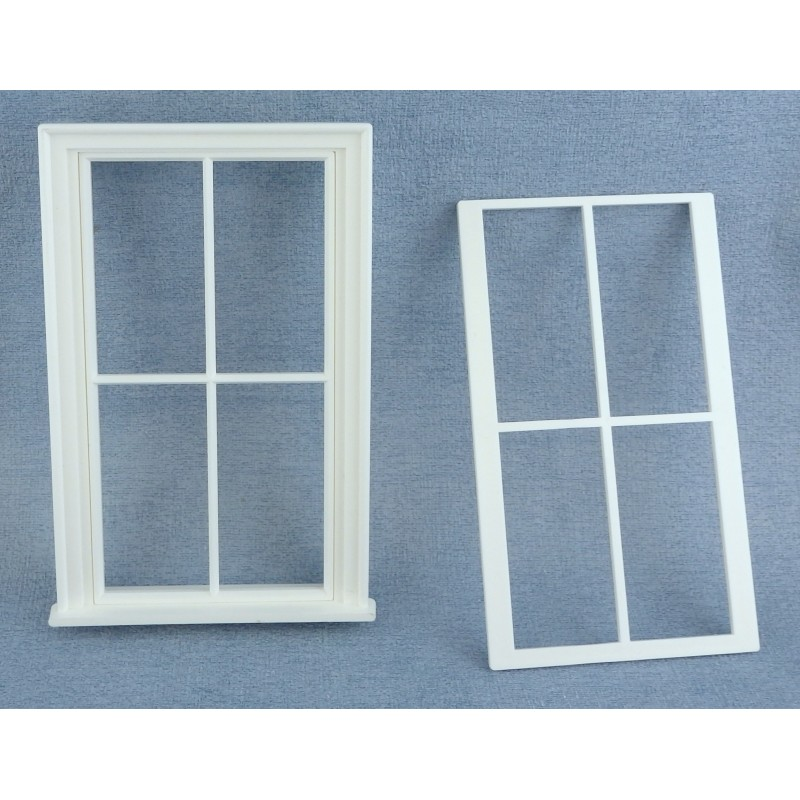 Dolls House Miniature White Plastic Victorian Window Frame 4 Pane DIY Builders