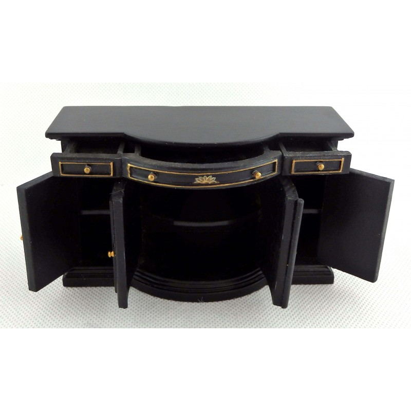 Dolls House Handpainted Black Chinese Credenza Sideboard Miniature Furniture