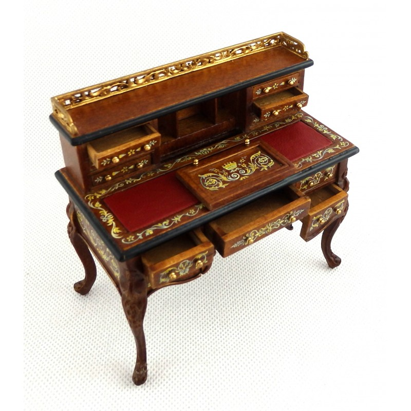 Dolls House Ladies Chinese Walnut Writing Desk Miniature Hand Painted Furniture