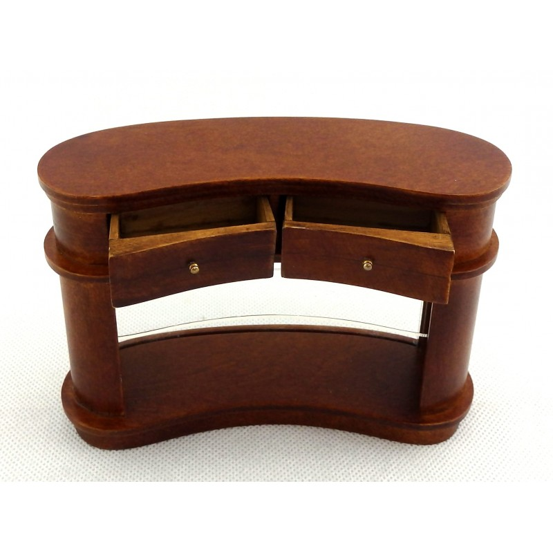 Dolls House Walnut Kidney Shaped Bar Counter Miniature JBM Pub Shop Furniture