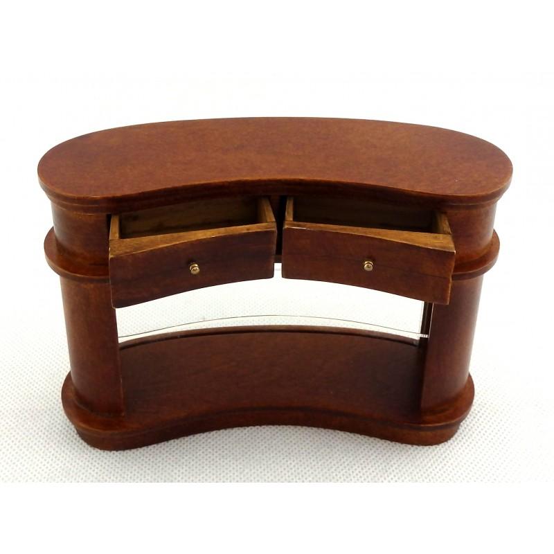 Dolls House Walnut Kidney Shaped Bar Counter Miniature JBM Pub Shop Furniture