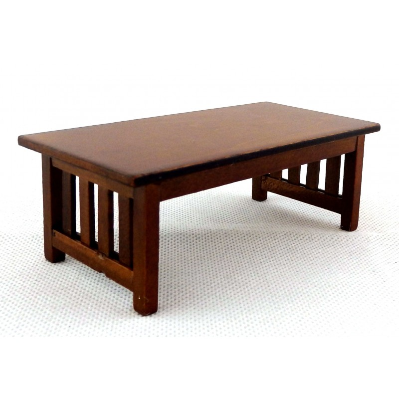 Dolls House Walnut Mission Coffee Table Miniature Living Room Furniture