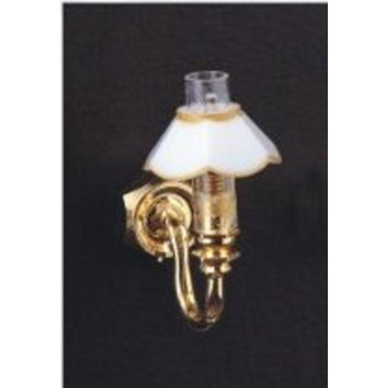 Dolls House Victorian Gas Lamp Single Wall Light White Shade 12V Electric