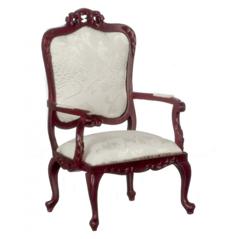 Dolls House Fancy Victorian Mahogany White Armchair Living Room Furniture
