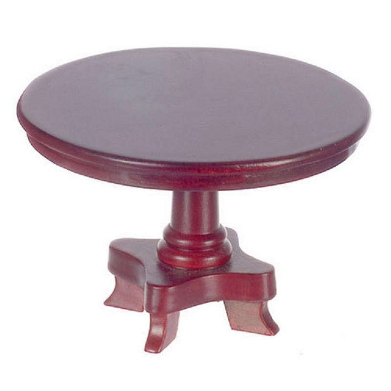 Dolls House Small Mahogany Round Pedestal Table Miniature Dining Room Furniture