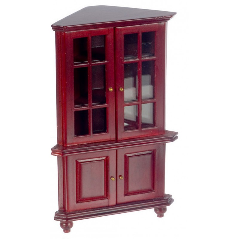 Dolls House Mahogany Corner China Cabinet Miniature Living Dining Room Furniture