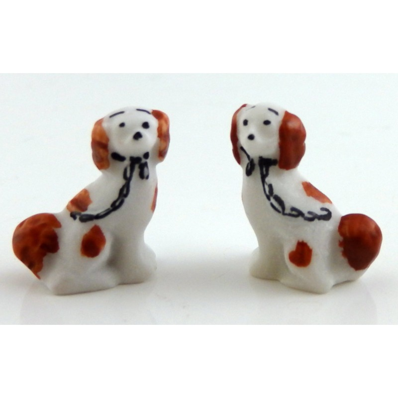 Dolls House Miniature Ornament Fireplace Accessory Pair of Staffordshire Dogs BR