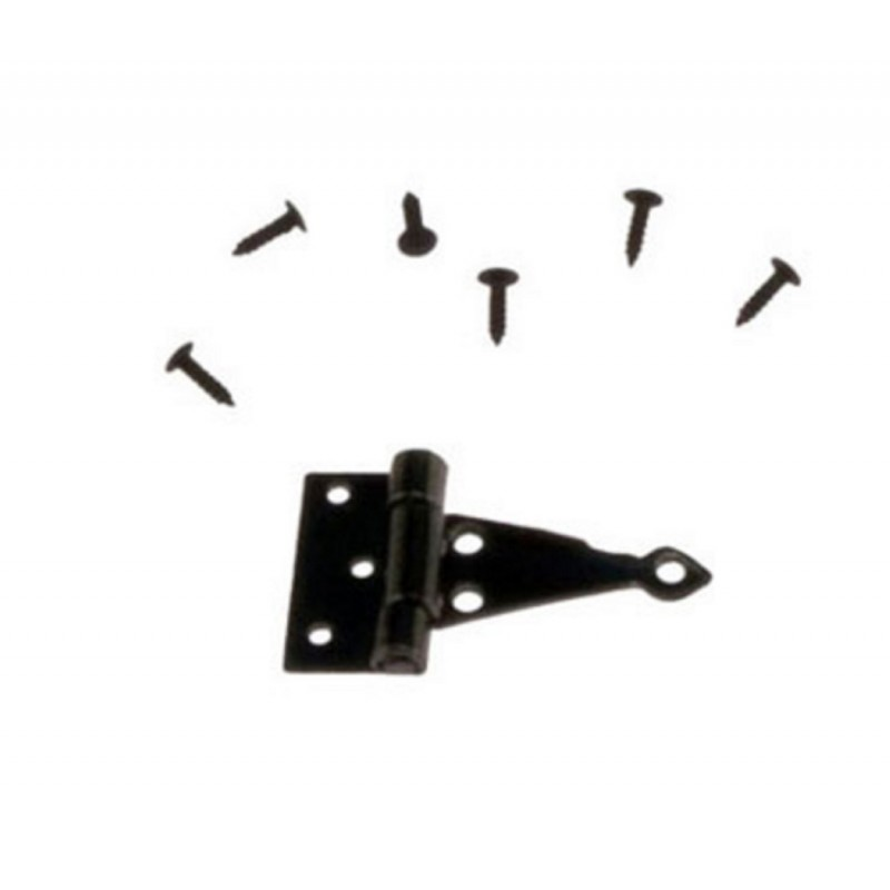 Dolls House 4 Silver Black T Hinges Miniature DIY Fixtures & Fittings Hardware