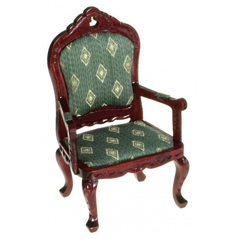 Dolls House Mahogany & Green Fauteil Armchair Victorian Living Room Furniture