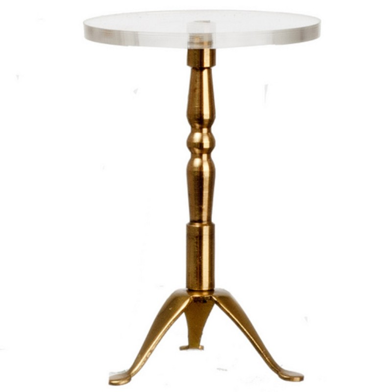 Dolls House Modern Brass Glass Round End Table Miniature Living Room Furniture
