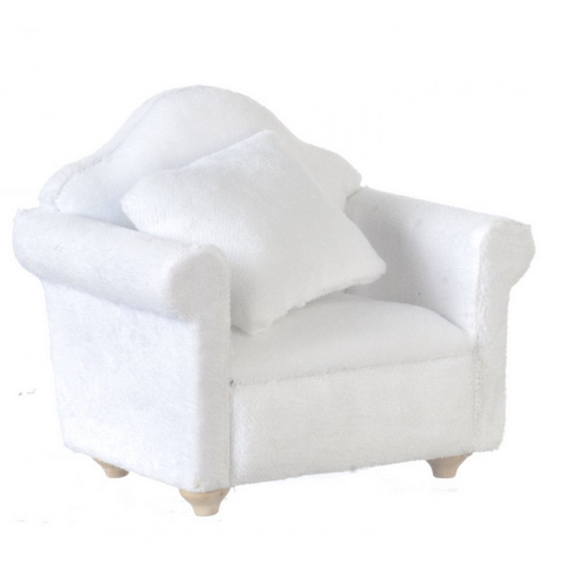 Dolls House White Velour Armchair Modern Miniature Living Room Furniture