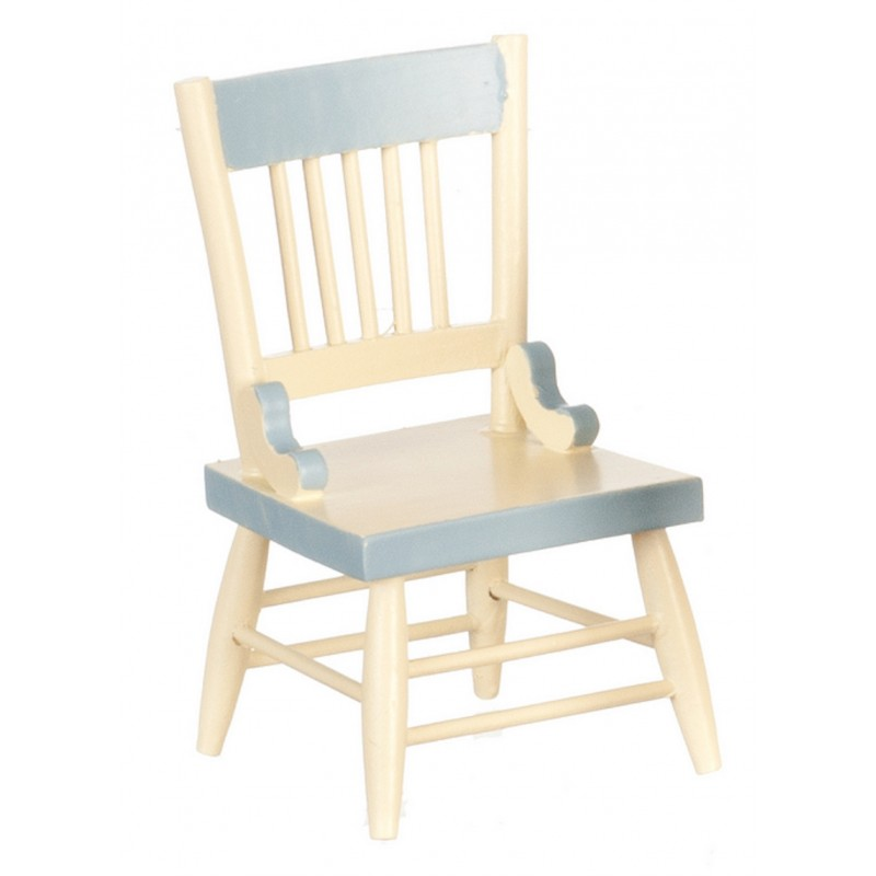 Dolls House Blue Cream Side Chair Miniature Shabby Chic Dining Room Furniture