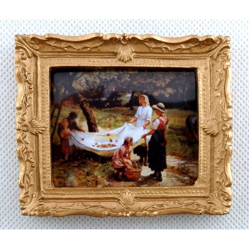 Dolls House Miniature Accessory Picking Apples Picture Painting Gold Frame