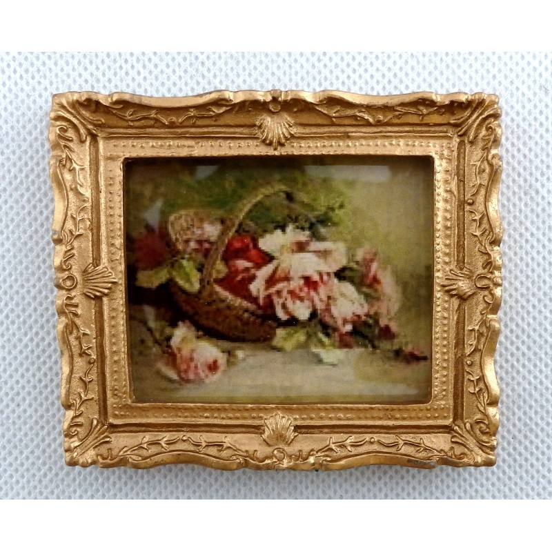 Dolls House Basket of Roses Picture Painting Gold Frame Miniature Accessory