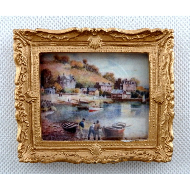 Dolls House Harbour Scene Picture Painting Gold Frame Miniature Accessory