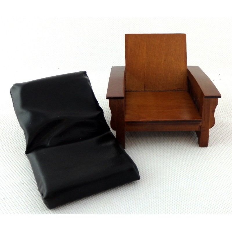 Dolls House Walnut & Black Leather Mission Armchair 1:12 Living Room Furniture