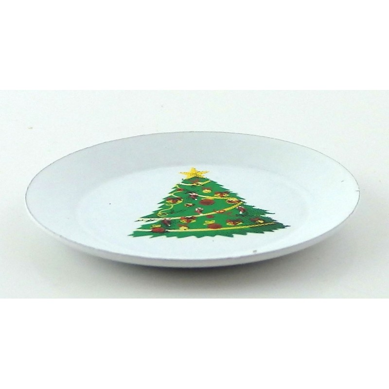 Dolls House Christmas Tree Plate Miniature Kitchen Dining Room Table Accessory