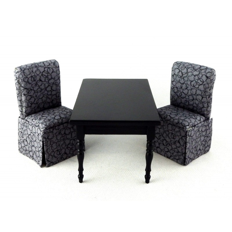 Dolls House Black Dining Table & 2 Grey Slipper Chairs Miniature Furniture Set