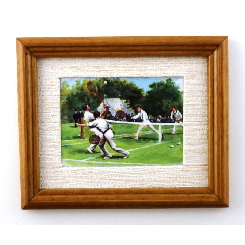 Dolls House Mens Tennis Picture Painting in Walnut Frame Miniature Accessory