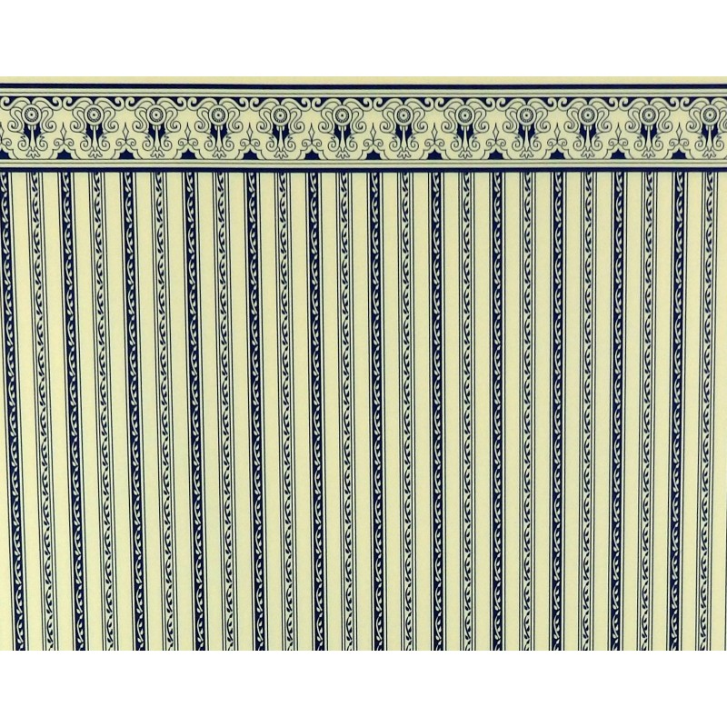 Dolls House Blue Cream Regency Stripe  Miniature Print Wallpaper 1:12 Scale
