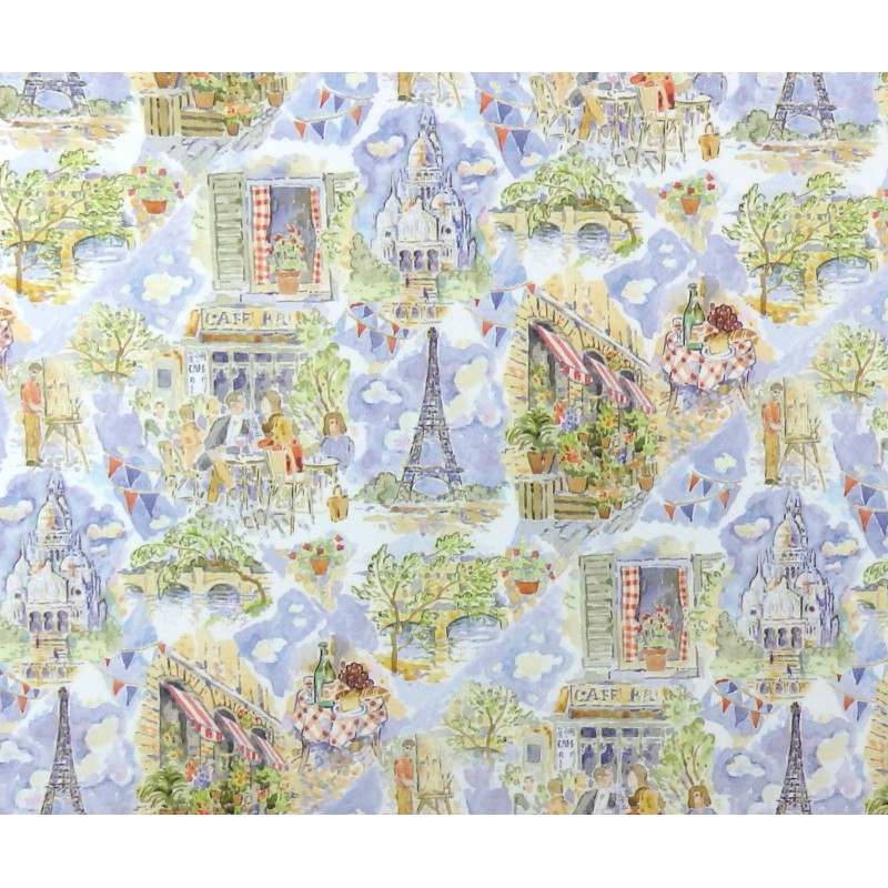 Melody Jane Dolls House 'April in Paris' Miniature Print 1:12 Scene Wallpaper