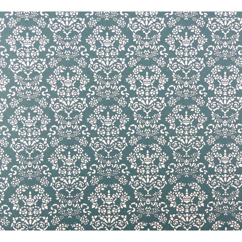 Dolls House Renaissance White on Blue Miniature Print 1:12 Scale Wallpaper