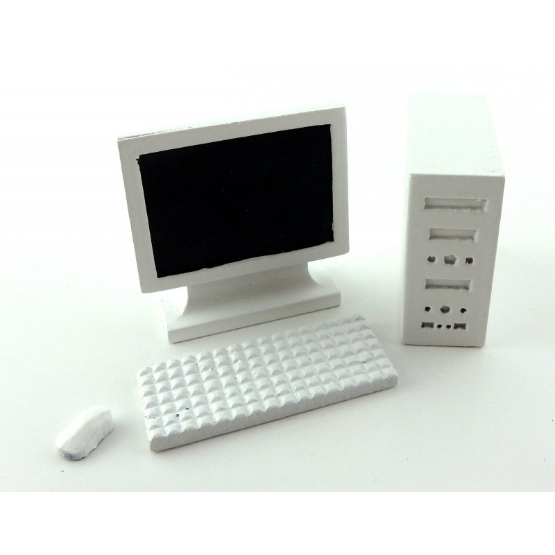 Dolls House White PC Computer 1:12 Modern Miniature Office Study Accessory