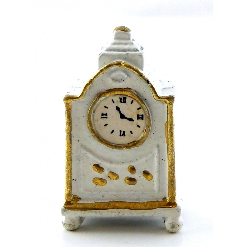 Dolls House White & Gold Mantle Carriage Clock Miniature Accessory