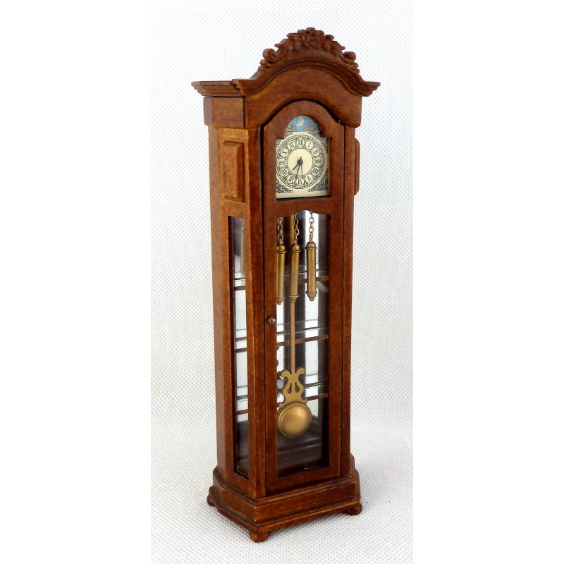 Dolls House Working Walnut Grandfather Curio Clock Miniature JBM Hall Furniture