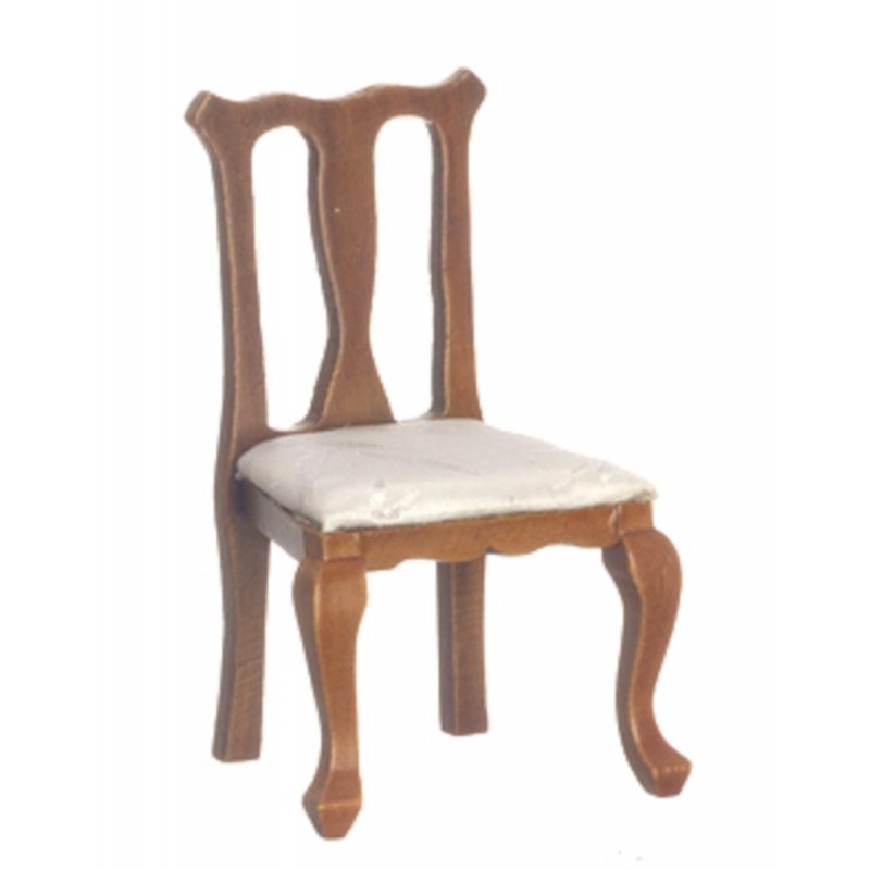Dolls House Walnut Cream Queen Ann Side Chair Miniature Dining Room Furniture