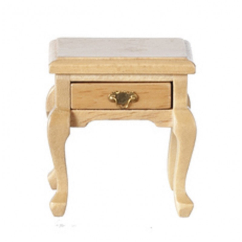 Dolls House Light Oak Queen Ann Side Table Miniature Living Room Furniture