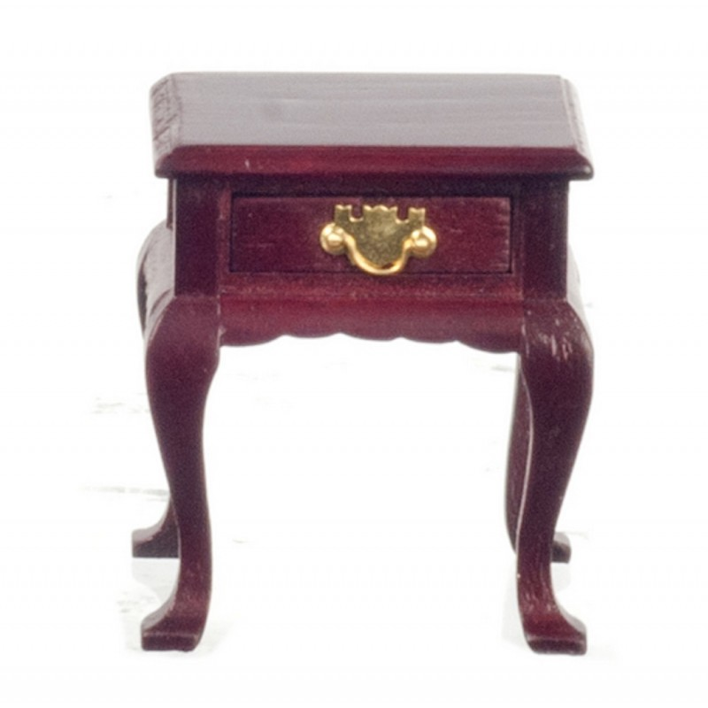 Dolls House Mahogany Queen Ann Bedside Table Miniature 1:12 Bedroom Furniture