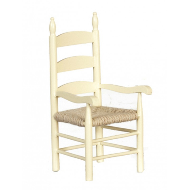 Dolls House Cream Woven Seat Carver Arm Chair Miniature Dining Room Furniture
