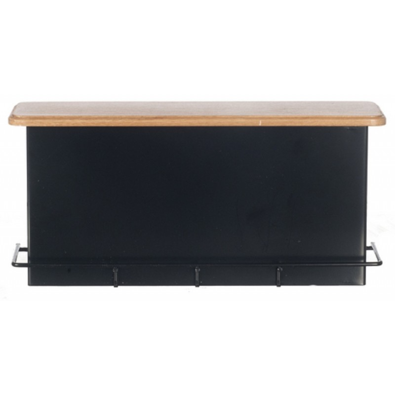 Dolls House 1950's Black Light Oak Breakfast Bar Counter Cafe Kitchen Furniture
