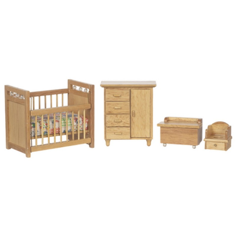 Dolls House Light Oak Nursery Furniture Set Miniature Baby Room 1:12 Scale