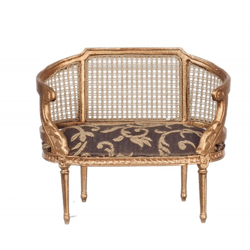 Dolls House Louis XIV Small Setee Gold Rattan Sofa JBM Living Room Furniture