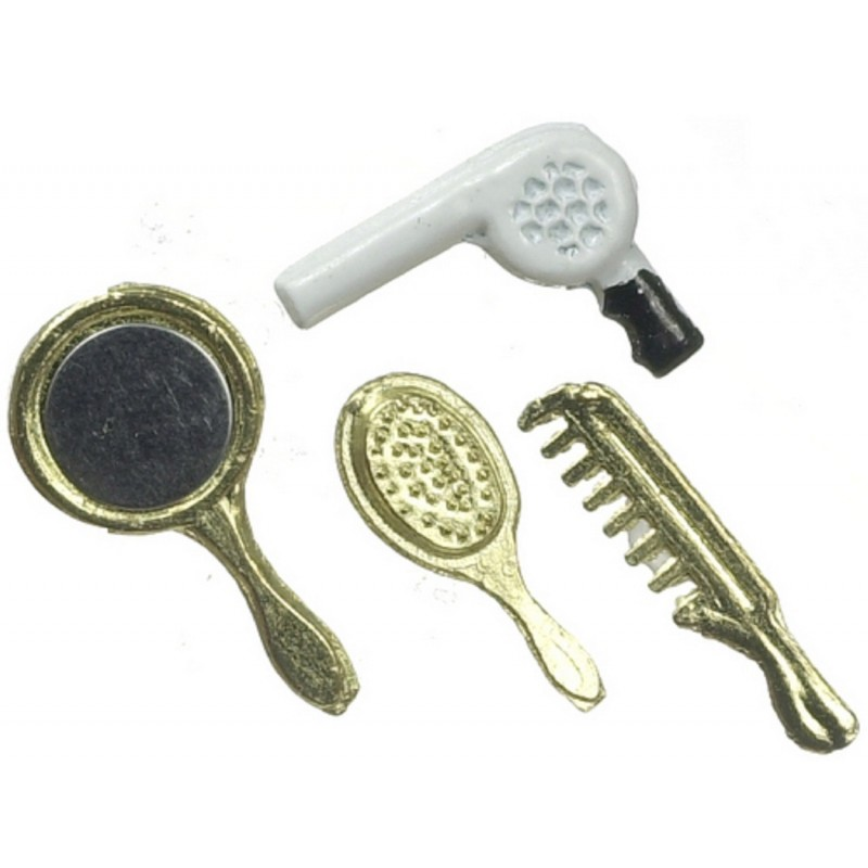 Dolls House Hairdryer Mirror Brush Comb Miniature Bedroom Hairdresser Accessory